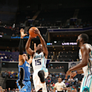 CHARLOTTE, NC - OCTOBER 13: Kemba Walker #15 of the Charlotte Hornets shoots against the Orlando Magic during the game at the Time Warner Cable Arena on October 13, 2014 in Charlotte, North Carolina. (Photo by Kent Smith/NBAE via Getty Images)
