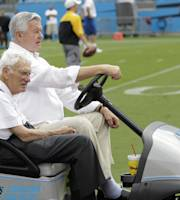 Carolina Panthers owner Jerry Richardson, back, and Pittsburgh Steelers chairman Dan Rooney, front, look on as their teams warm up before an NFL preseason football game in Charlotte, N.C., Thursday, Aug. 29, 2013. (AP Photo/Bob Leverone)