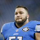 Detroit Lions center Dominic Raiola is seen during pre-game warmups of an NFL football game against the Minnesota Vikings at Ford Field in Detroit, Sunday, Dec. 14, 2014. (AP Photo/Rick Osentoski)