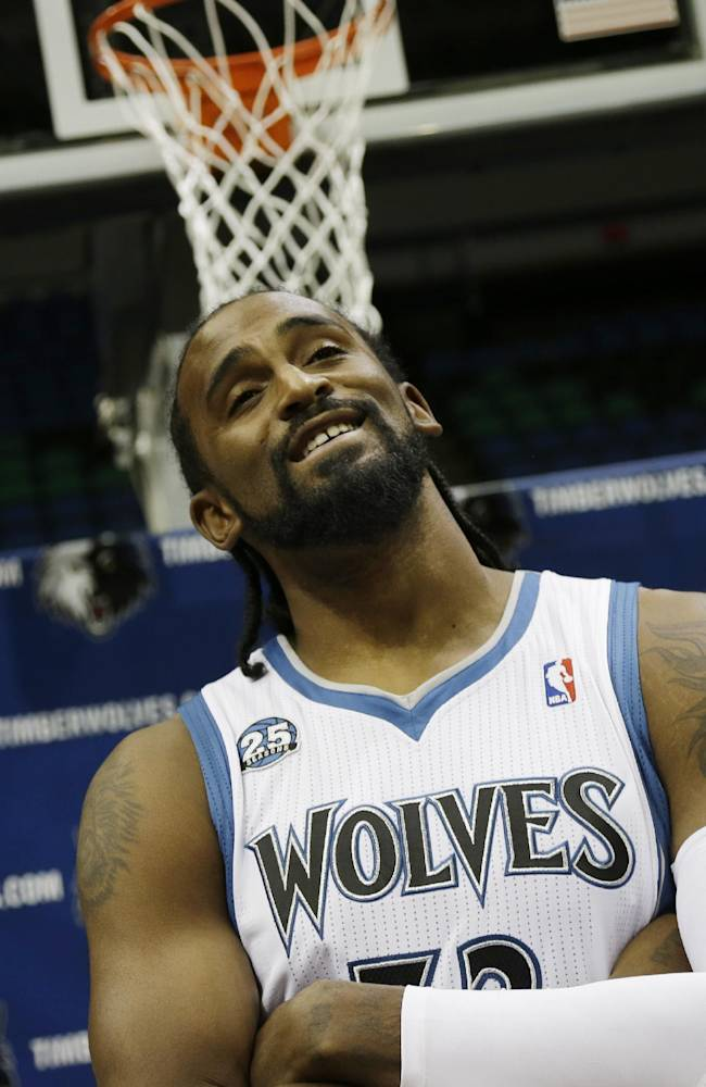 Minnesota Timberwolves Ronny Turiaf of France ponders a question during the NBA basketball team's media day, Monday, Sept. 30, 2013, in Minneapolis
