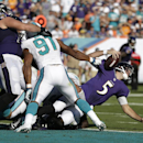 Baltimore Ravens quarterback Joe Flacco (5) is sacked by Miami Dolphins defensive end Cameron Wake (91) during the second half of an NFL football game, Sunday, Dec. 7, 2014, in Miami Gardens, Fla The Associated Press