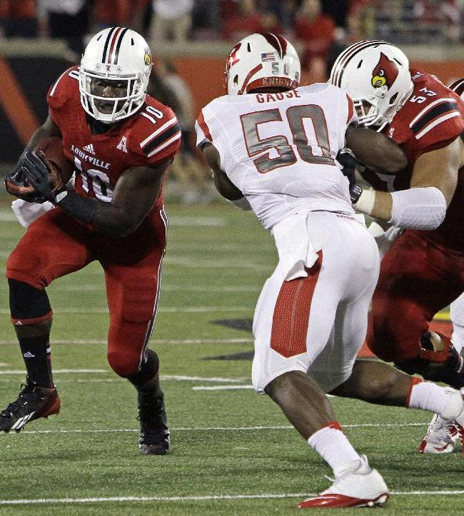 Louisville running back Dominique Brown (10) looks to avoid Rutgers' Quentin Gause (50) during the first half of an NCAA college football game in Louisville, Ky., Thursday, Oct. 10, 2013. At right is Louisville lineman Jake Smith (53)
