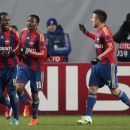 CSKA's Seydou Doumbia, left, celebrates after scoring his side's first goal during the Champions League Group E soccer match between CSKA Moscow and Manchester City at Arena Khimki stadium in Moscow, Russia, Tuesday Oct. 21, 2014