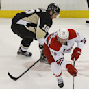 Carolina Hurricanes' Riley Nash (20) skates away from Pittsburgh Penguins' Brandon Sutter (16) during the third period of an NHL hockey game onTuesday, April 1, 2014, in Pittsburgh. The Hurricanes won 4-1 The Associated Press