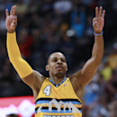 Denver Nuggets guard Randy Foye reacts after hitting three-point basket against the Utah Jazz in the fourth quarter of the Nuggets' 101-94 victory in an NBA basketball game in Denver on Saturday, April 12, 2014 The Associated Press