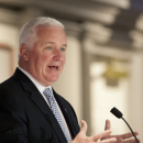 Pennsylvania Governor Tom Corbett addresses members of the media during a press conference following the regularly scheduled Penn State Board of Trustees meeting in State College, Pa., Friday, Jan. 20, 2012. Penn State President Rodney Erickson used the meeting as an opportunity to address the perception that the university isn't being as open and honest as it could be in the wake of the Jerry Sandusky scandal. (AP Photo/Andy Colwell)
