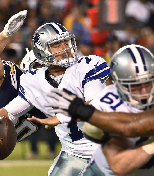 Dallas Cowboys quarterback Caleb Hanie is about to be hit by San Diego Chargers outside linebacker Thomas Keiser during the second half of a preseason NFL football game Thursday, Aug. 7, 2014, in San Diego. Hanie fumbled and the Chargers recovered in their 27-7 victory