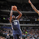 DALLAS, TX - JANUARY 27: Zach Randolph #50 of the Memphis Grizzlies takes a shot against the Dallas Mavericks on January 27, 2015 at the American Airlines Center in Dallas, Texas. (Photo by Danny Bollinger/NBAE via Getty Images)