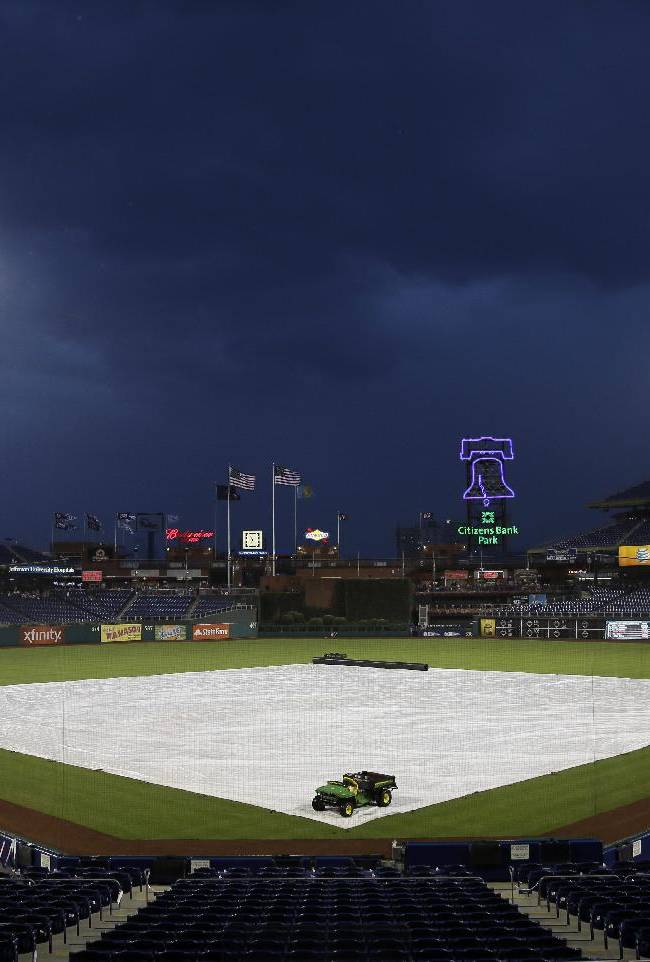 A tarp covers the field at Citizens Bank Park as rain delays the start of a baseball game between the Philadelphia Phillies and the San Diego Padres, Thursday, Sept. 12, 2013, in Philadelphia