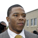 In this May 1, 2014, photo, Baltimore Ravens football player and former Rutgers University stand out Ray Rice arrives at Atlantic County Criminal Courthouse in Mays Landing, N.J. Rice was let go by the Ravens on Monday, Sept. 8, 2014, and suspended indefinitely by the NFL after a video was released that appears to show the running back striking his then-fiancee in February. AP Photo/Mel Evans,file)