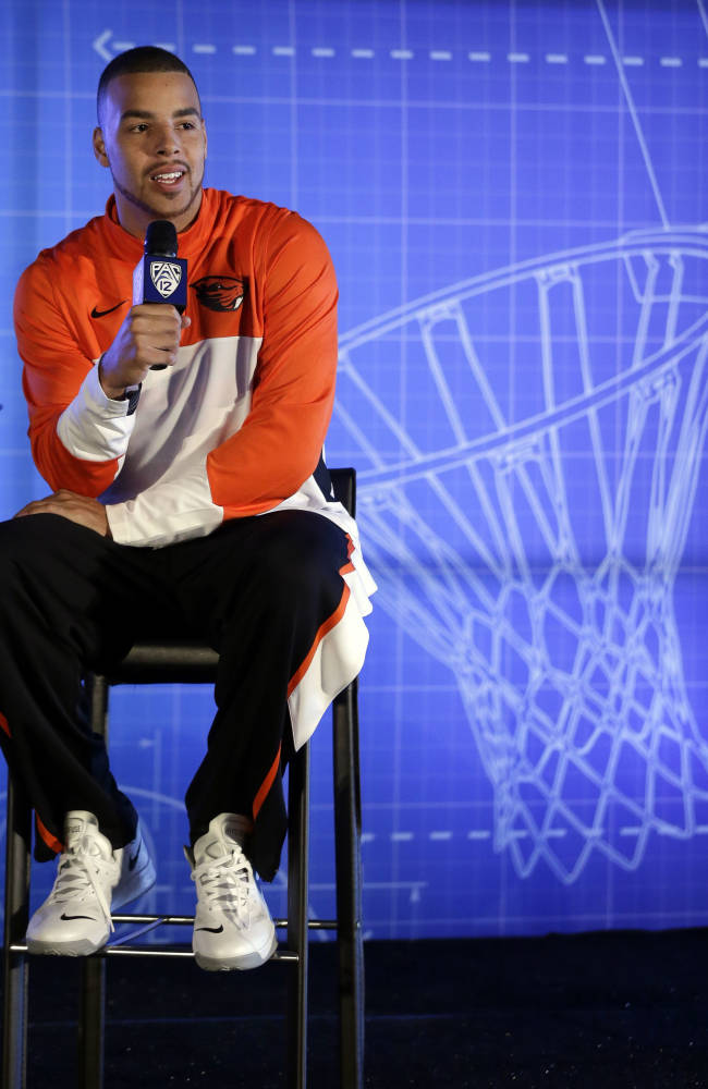 Oregon State's Roberto Nelson answers questions during the Pac-12 NCAA college basketball media day, Thursday, Oct. 17, 2013, in San Francisco