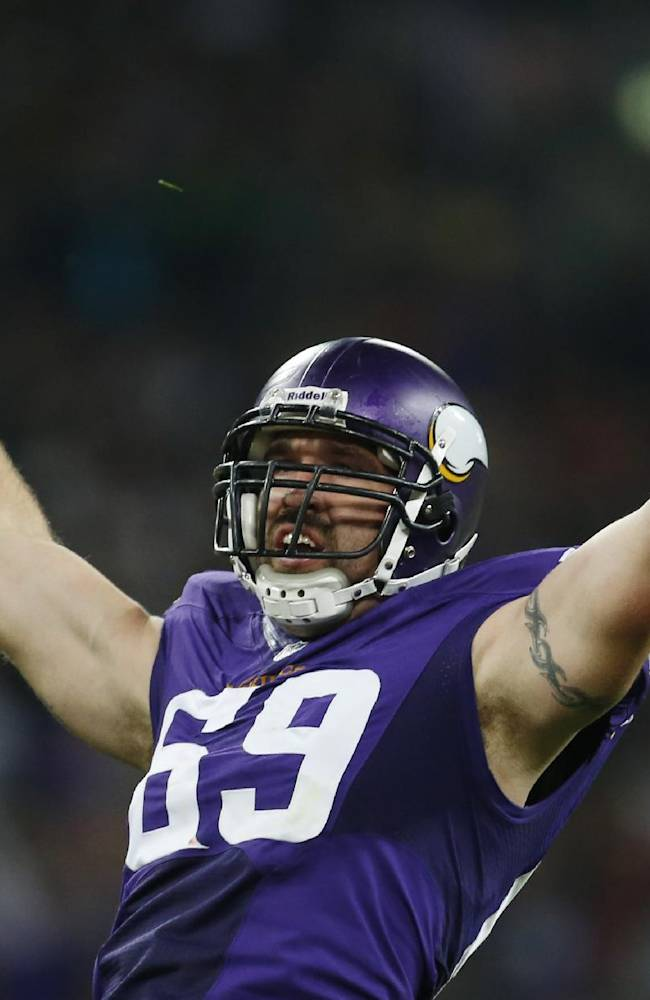Minnesota Vikings defensive end Jared Allen celebrates after sacking Pittsburgh Steelers quarterback Ben Roethlisberger during the first half of their NFL football game at Wembley Stadium, London, Sunday,Sept. 29, 2013