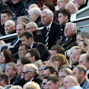 Newcastle United's manager Alan Pardew, center rear, looks on from the stand during their English Premier League soccer match against Swansea City at St James' Park, Newcastle, England, Saturday, April 19, 2014