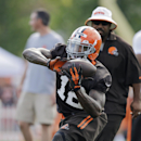 Cleveland Browns wide receiver Josh Gordon makes a catch during NFL football training camp, Saturday, July 26, 2014, in Berea, Ohio. (AP Photo/Mark Duncan)