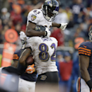 Baltimore Ravens wide receiver Torrey Smith (82) celebrates his touchdown reception with Deonte Thompson (83) during the first half of an NFL football game against the Chicago Bears, Sunday, Nov. 17, 2013, in Chicago The Associated Press