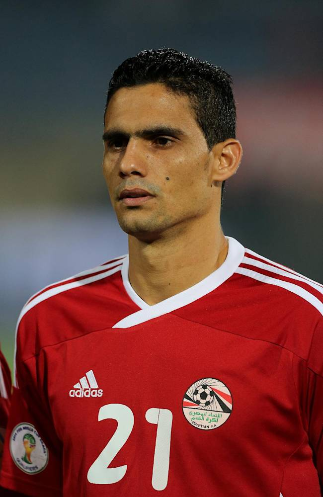 Egypt's defender Mohamed Nagieb stands on the field during the World Cup qualifying playoff second leg soccer match, at the Air Defense Stadium in Cairo, Egypt, Tuesday, Nov. 19, 2013