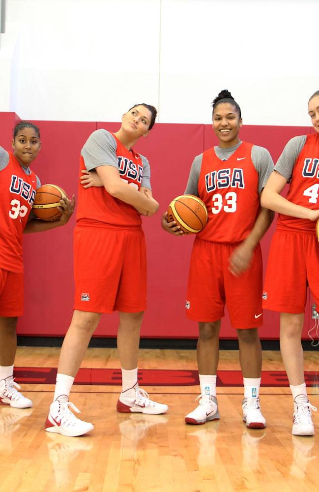 This Oct. 6, 2013 photo provided by USA Basketball shows, from left, Notre Dame's Kayla McBride; UConn's Kaleena Mosqueda-Lewis; UConn's Stefanie Dolson; Maryland's Alyssa Thomas; UConn's Breanna Stewart and Baylor's Odyssey Sims, at training camp in Las Vegas. The six college players invited to the US national women's basketball training camp admitted they were a little nervous at the chance to play with the pros