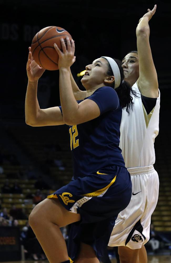 California's Hind Ben Abdelkader shoots during an NCAA college basketball game against Colorado, in Boulder, Colo., Friday, Jan. 10, 2014. California won 57-55