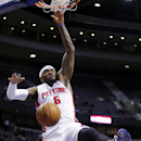 Detroit Pistons forward Josh Smith (6) dunks against the Milwaukee Bucks, for two of his 26 points, during the second half of an NBA basketball game Monday, March 31, 2014, in Auburn Hills, Mich. The Pistons defeated the Bucks 116-111 The Associated Press