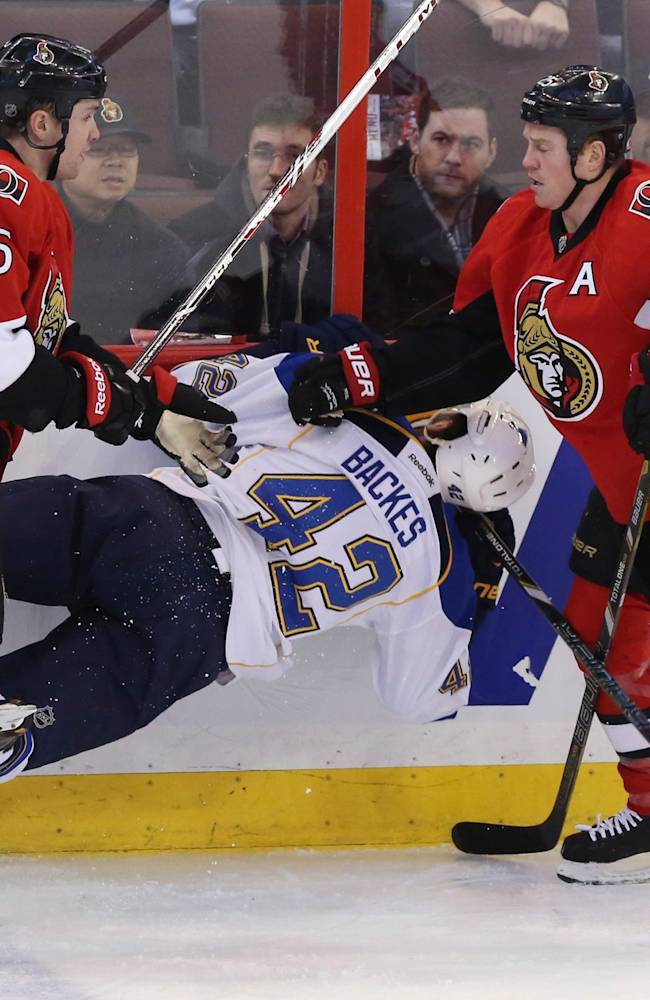 Blues C Backes to sit out after collision