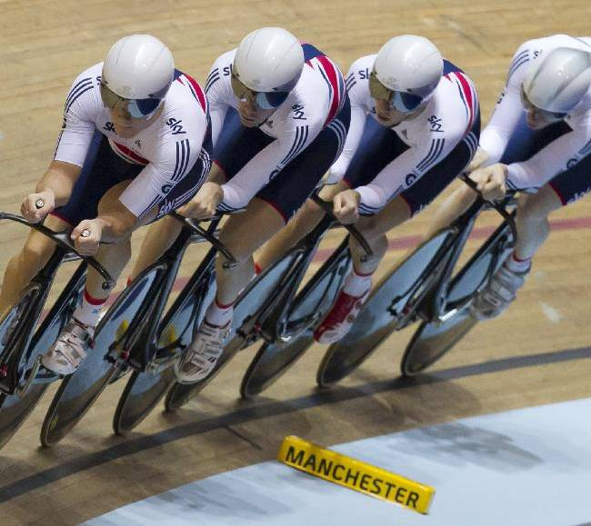 The Great Britain team qualifies for the final of the Men's Team Pursuit during the Track Cycling World Cup at the National Cycling Centre, Manchester, England, Friday, Nov. 1, 2013