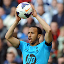 Tottenham's Aaron Lennon raises a ball during the English Premier League soccer match between West Bromwich Albion and Tottenham Hotspur at The Hawthorns Stadium in West Bromwich, England, Saturday, April 12, 2014