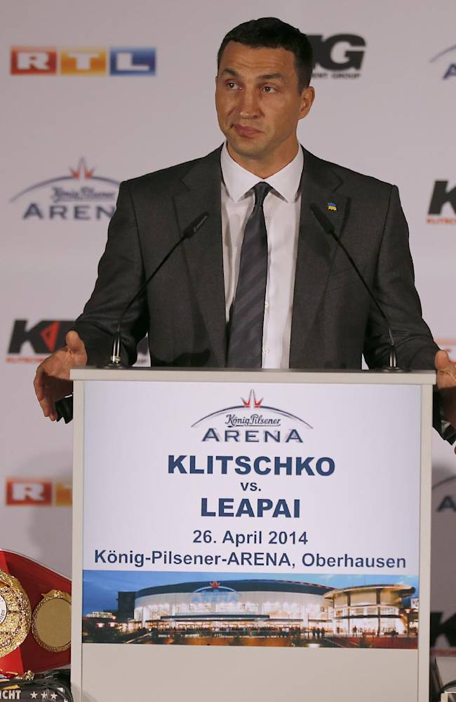 Wladimir Klitschko, left,  and Alex Leapai  attend  a press conference ahead of the IBF, IBO, WBO and WBA heavyweight  title bout on April 26,2014 between Wladimir Klitschko of Ukraine and Alex Leapai of Australia in Oberhausen, Germany, Tuesday, Feb. 11, 2014