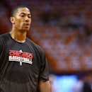 MIAMI, FL - MAY 15:  Derrick Rose #1 of the Chicago Bulls looks on during Game Five of the Eastern Conference Semifinals of the 2013 NBA Playoffs against the Miami Heat at American Airlines Arena on May 15, 2013 in Miami, Florida. NOTE TO USER: User expressly acknowledges and agrees that, by downloading and or using this photograph, User is consenting to the terms and conditions of the Getty Images License Agreement.  (Photo by Mike Ehrmann/Getty Images)