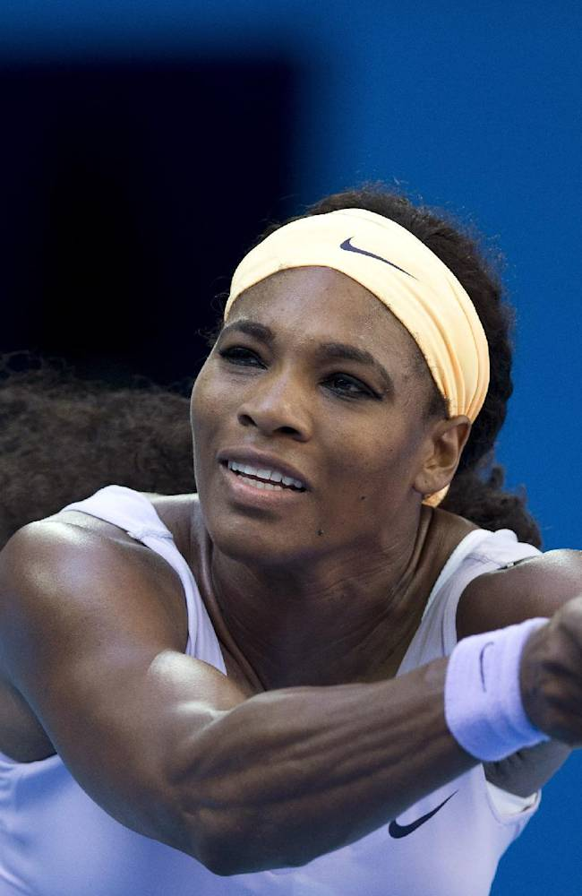 Serena Williams of U.S. returns a shot to Francesca Schiavone of Italy during the second round of the China Open tennis tournament at the National Tennis Stadium in Beijing, China Tuesday, Oct. 1, 2013