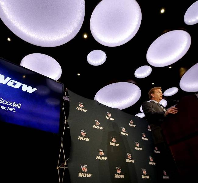 NFL commissioner Roger Goodell talks during a news conference announcing the launch of NFL Now, a multimedia effort to engage fans with the league, Thursday, Jan. 30, 2014, in New York, N.J. The Seattle Seahawks are scheduled to play the Denver Broncos in the NFL Super Bowl XLVIII football game on Sunday, Feb. 2, at MetLife Stadium in East Rutherford, N.J. (AP Photo)