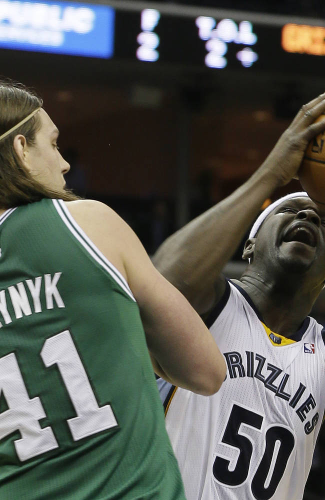 Memphis Grizzlies' Zach Randolph (50) shoots the ball over Boston Celtics' Kelly Olynyk (41), of Canada, in the second half of an NBA basketball game in Memphis, Tenn., Monday, Nov. 4, 2013. The Grizzlies defeated the Celtics 95-88