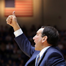 Duke head coach Mike Krzyzewski directs his team during the second half of an NCAA college basketball game against Wake Forest in Durham, N.C., Saturday, Jan. 5, 2013. Duke won 80-62. (AP Photo/Ted Richardson)