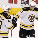 Boston Bruins' Brad Marchand (63) celebrates a win over the Arizona Coyotes with teammate Seth Griffith (53) after an NHL hockey game Saturday, Dec. 6, 2014, in Glendale, Ariz. The Bruins defeated the Coyotes 5-2 The Associated Press
