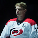 Carolina Hurricanes captain Eric Staal stands during the singing of the national anthems before an NHL hockey game against the Vancouver Canucks, Tuesday, Oct. 28, 2014 in Vancouver, British Columbia The Associated Press