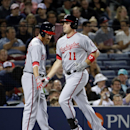 Washington Nationals' Ryan Zimmerman, right, is high-fived by teammate Adam LaRoche after hitting a three-run home run to score LaRoche and Jayson Werth in the fifth inning of a baseball game against the Atlanta Braves, Friday, April 11, 2014, in Atlanta