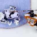 Toronto Maple Leafs' Jonathan Bernier (45) takes a stick to the mask from Philadelphia Flyers' Vincent Lecavalier (40) during the second period of an NHL hockey game, Friday, March 28, 2014, in Philadelphia The Associated Press
