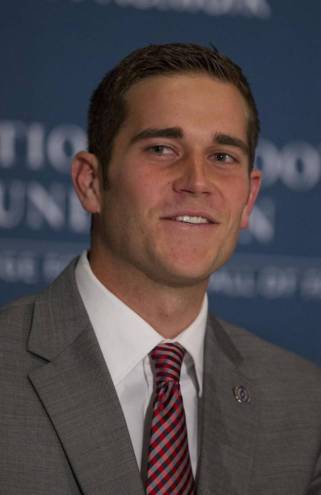 Northwest Missouri State quarterback Trevor Adams speaks during a press conference at the Waldorf-Astoria, as part of the 2013 NFF National Scholar-Athlete Class at the 56th National Football Foundation Awards ceremonies on Tuesday, Dec. 10, 2013, in New York