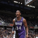 SACRAMENTO, CA - FEBRUARY 9: Jason Thompson #34 of the Sacramento Kings reacts after the play against the Utah Jazz on February 9, 2013 at Sleep Train Arena in Sacramento, California. (Photo by Rocky Widner/NBAE via Getty Images)