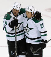 Dallas Stars center Cody Eakin (20) celebrates his goal against the Detroit Red Wings with Jamie Benn (14) in the third period of an NHL hockey game in Detroit Thursday, Nov. 7, 2013. (AP Photo/Paul Sancya)