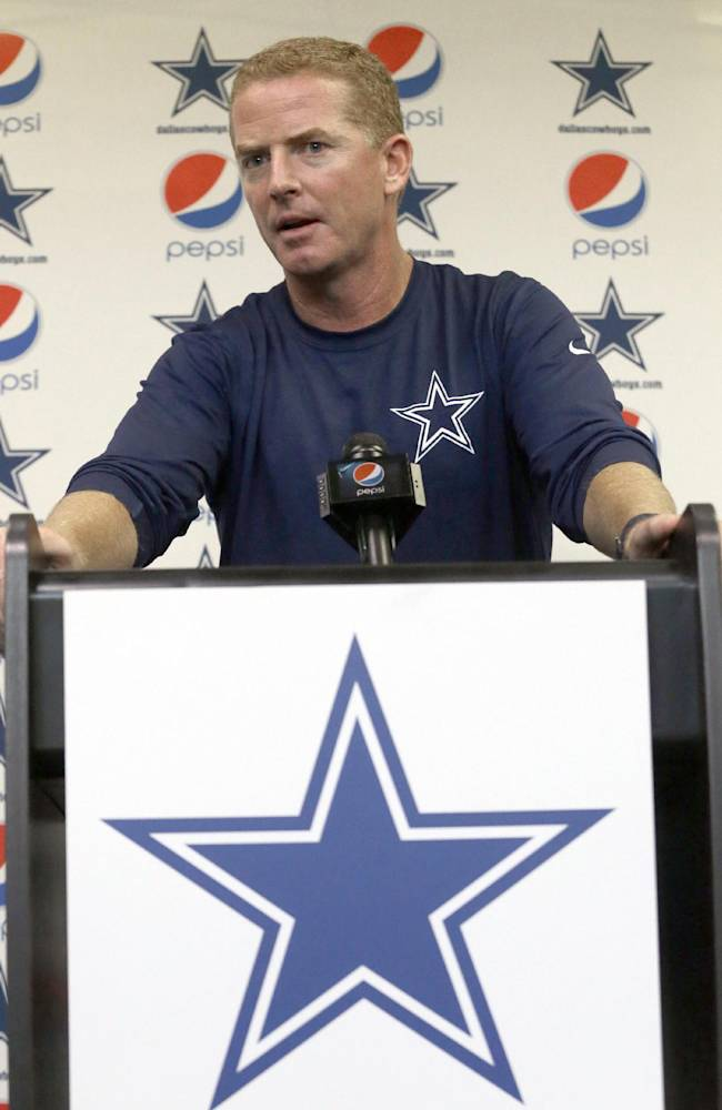 Dallas Cowboys NFL football head coach Jason Garrett speaks about the signing of  Michael Sam to the Cowboys practice squad during a news conference at the team's headquarters Wednesday, Sept. 3, 2014, in Irving, Texas