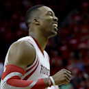 Houston Rockets' Dwight Howard reacts after missing a free throw during overtime in Game 1 of an opening-round NBA basketball playoff series against the Portland Trail Blazers Sunday, April 20, 2014, in Houston. The Trail Blazers won 122-120 in overtime.