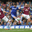 Chelsea's Diego Costa, centre, competes for the ball with Aston Villa players Philippe Senderos, left, and Alan Hutton during their English Premier League soccer match at Stamford Bridge, London, Saturday, Sept. 27, 2014.