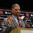 FILE - In this April 23, 2013, file photo, Rutgers head coach Eddie Jordan gestures while speaking during an NCAA college basketball news conference in New Brunswick, N.J. The university's official bio of Jordan says he graduated from the university in 1977. But the university registrar's office says the former NBA player and coach never received a degree from Rutgers, though he earned 103 credit hours from 1973 to 1985. The degree discrepancy was first reported Friday, May 10, 2013, by the sports website Deadspin. (AP Photo/Mel Evans, File)