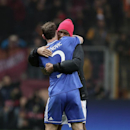 Didier Drogba of Galatasaray, rear, and Branislav Ivanovic of Chelsea after their Champions League Round of 16, First Leg match between Galatasaray and Chelsea at Turk Telekom Arena Stadium in Istanbul, Turkey, Wednesday, Feb. 26, 2014. (AP Photo)