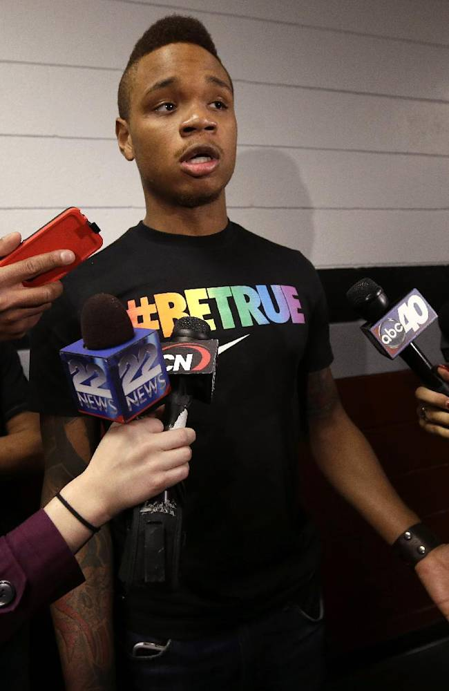 University of Massachusetts basketball guard Derrick Gordon, 22, faces reporters on the school's campus, Wednesday, April 9, 2014, in Amherst, Mass. Gordon has become the first openly gay player in Division I men's basketball