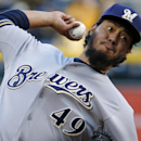 Milwaukee Brewers starting pitcher Yovani Gallardo delivers during the first inning of a baseball game against the Pittsburgh Pirates in Pittsburgh, Thursday, April 17, 2014 The Associated Press