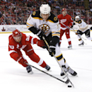 Detroit Red Wings defenseman Niklas Kronwall (55) defends against Boston Bruins left wing Milan Lucic (17) in the third period of an NHL hockey game in Detroit, Wednesday, Oct. 15, 2014 The Associated Press