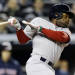 Boston Red Sox's Jackie Bradley Jr., watches his third-inning, RBI single against the New York Yankees during a baseball game at Yankee Stadium in New York, Wednesday, April 3, 2013. (AP Photo/Kathy Willens)