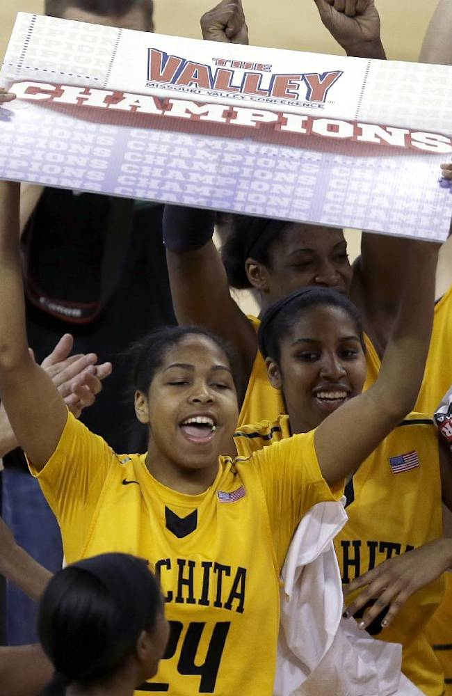 Wichita State's Alex Harden celebrates after an NCAA college basketball game against Drake in the championship of the Missouri Valley Conference women's tournament Sunday, March 16, 2014, in St. Charles, Mo. Wichita State won 73-49