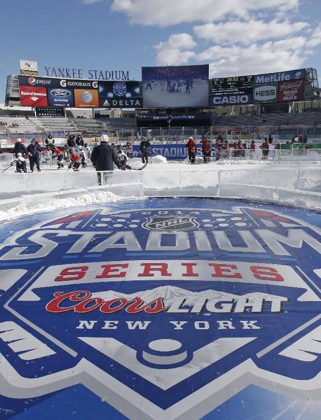 A platform for the national anthem is shown before an NHL outdoor hockey game at Yankee Stadium in New York, Sunday, Jan. 26, 2014. It is the first time a hockey game has been played at Yankee Stadium